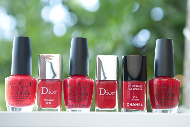 OPI Red Lights Ahead... Where? Dior Tie & Dye Color So Hot It Berns Red Royalty Chanel Dragon Vodka & Caviar