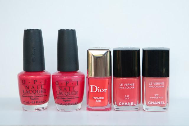 OPI Cajun Shrimp Guy Meets Gal-Veston Dior Paradise Chanel Lilis Orange Fizz