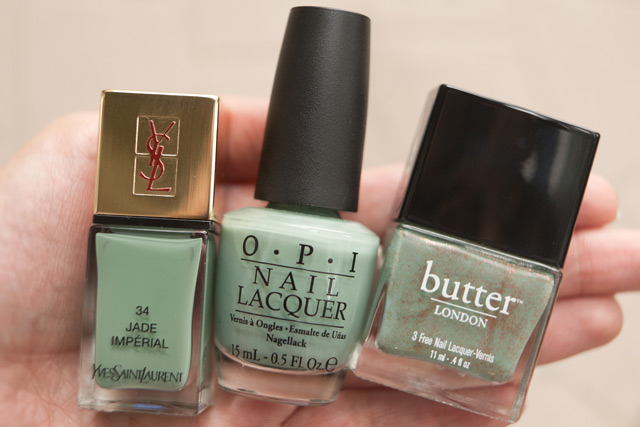 YSL Jade Imperial OPI Thanks A Windmillion Butter London Two Fingered Salute