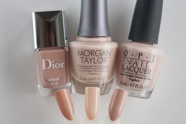Dior Grege Morgan Taylor New School Nude OPI Don't Pretzel My Buttons