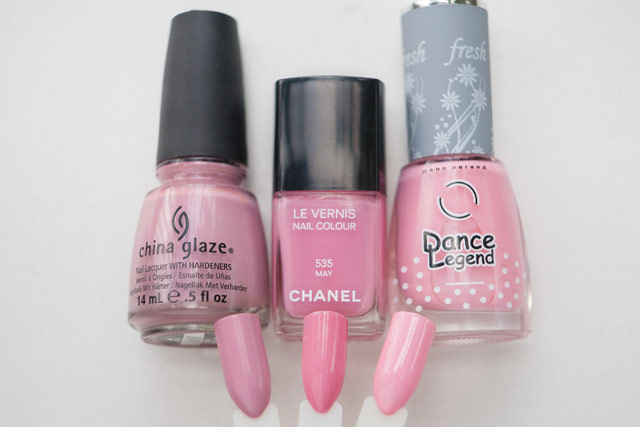 China Glaze Pink-ie Promise Chanel May Dance Legend 70