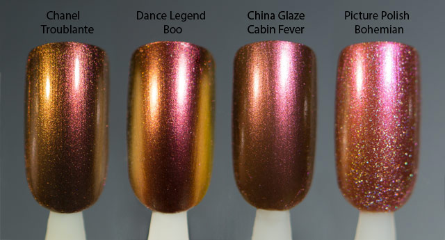 Chanel Troublante | Dance Legend Boo | China Glaze Cabin Fever | Picture Polish Bohemian